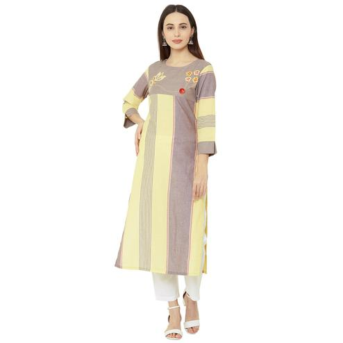 Blissful Multi Colored Casual Wear Printed Cotton Kurti