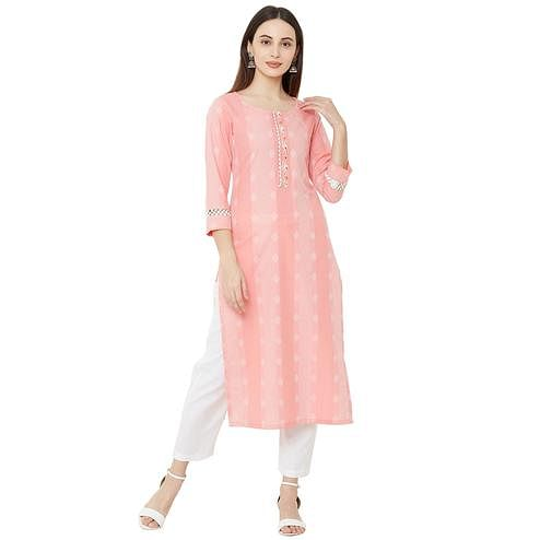 Ideal Pink Colored Casual Wear Printed Cotton Kurti