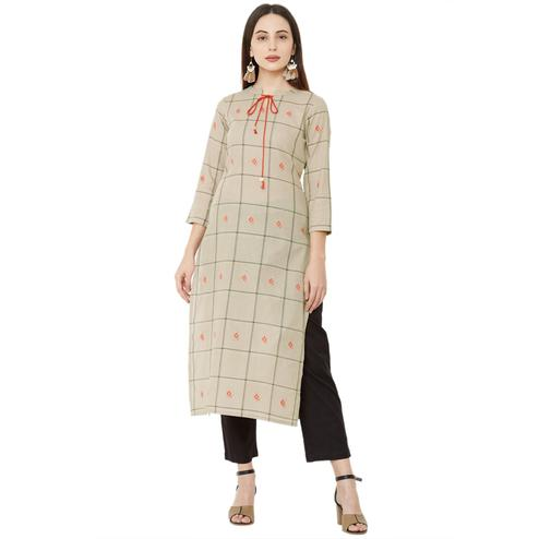 Lovely Beige Colored Casual Wear Printed Cotton Kurti