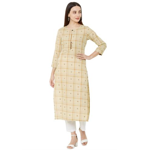 Majesty Beige Colored Casual Wear Printed Cotton Kurti