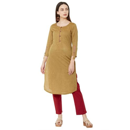 Impressive Mustard Colored Casual Wear Solid Cotton Kurti