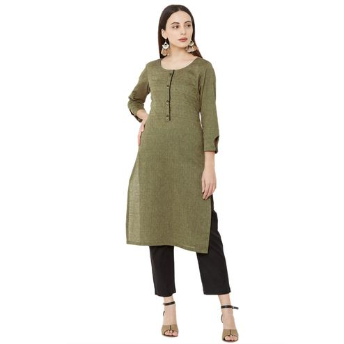 Pleasance Green Colored Casual Wear Solid Cotton Kurti
