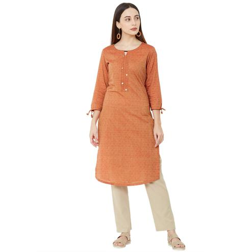 Breathtaking Orange Colored Casual Wear Solid Cotton Kurti