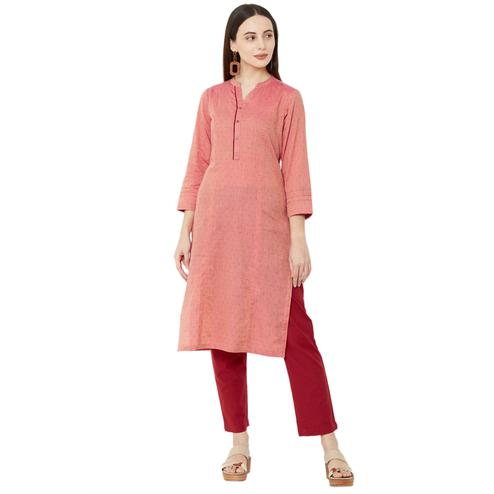 Ethnic Pink Colored Casual Wear Solid Cotton Kurti