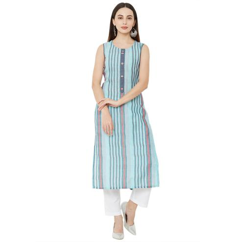 Ravishing Blue Colored Casual Wear Printed Cotton Kurti