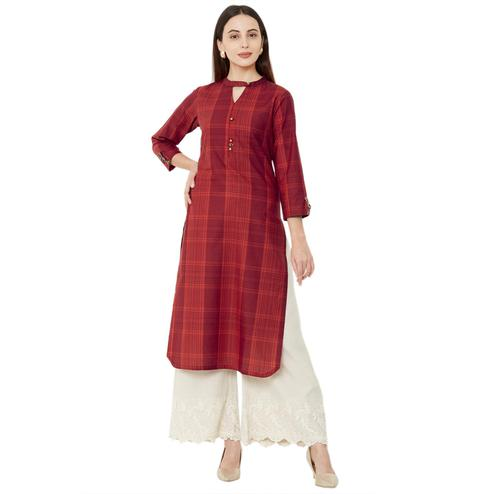 Intricate Red Colored Casual Wear Printed Cotton Kurti
