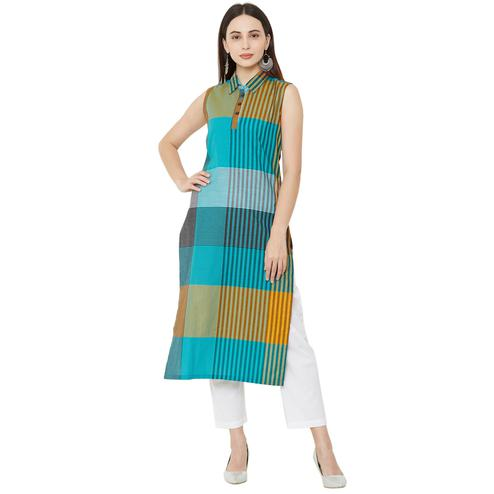 Arresting Multi Colored Casual Wear Printed Cotton Kurti