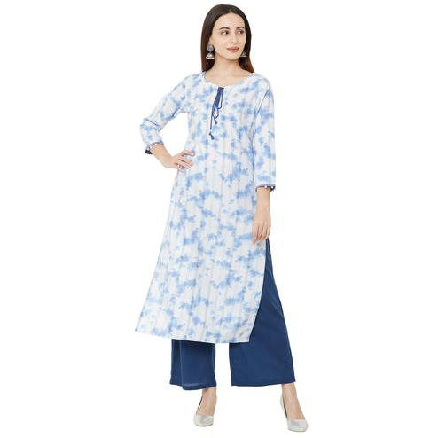 Desirable White Colored Casual Wear Printed Cotton Kurti
