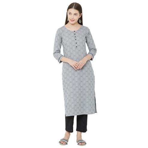 Sophisticated Grey Colored Casual Wear Woven Cotton Kurti