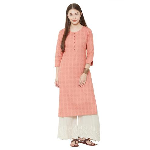 Trendy Orange Colored Casual Wear Woven Cotton Kurti