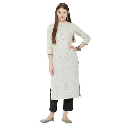 Elegant Cream Colored Casual Wear Woven Cotton Kurti