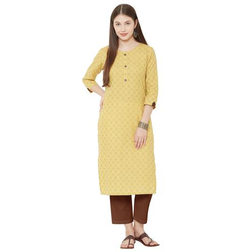 Radiant Yellow Colored Casual Wear Woven Cotton Kurti