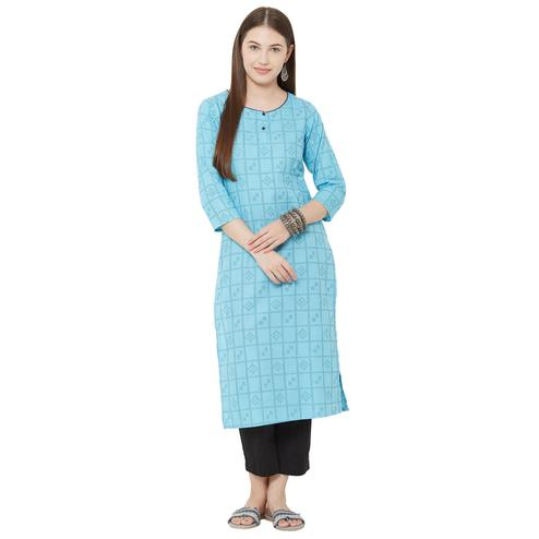 Pleasant Blue Colored Casual Wear Woven Cotton Kurti