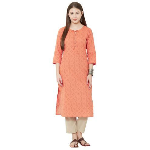 Opulent Orange Colored Casual Wear Woven Cotton Kurti