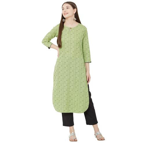 Energetic Pista Colored Casual Wear Woven Cotton Kurti