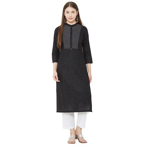 Glowing Black Colored Casual Wear Woven Cotton Kurti