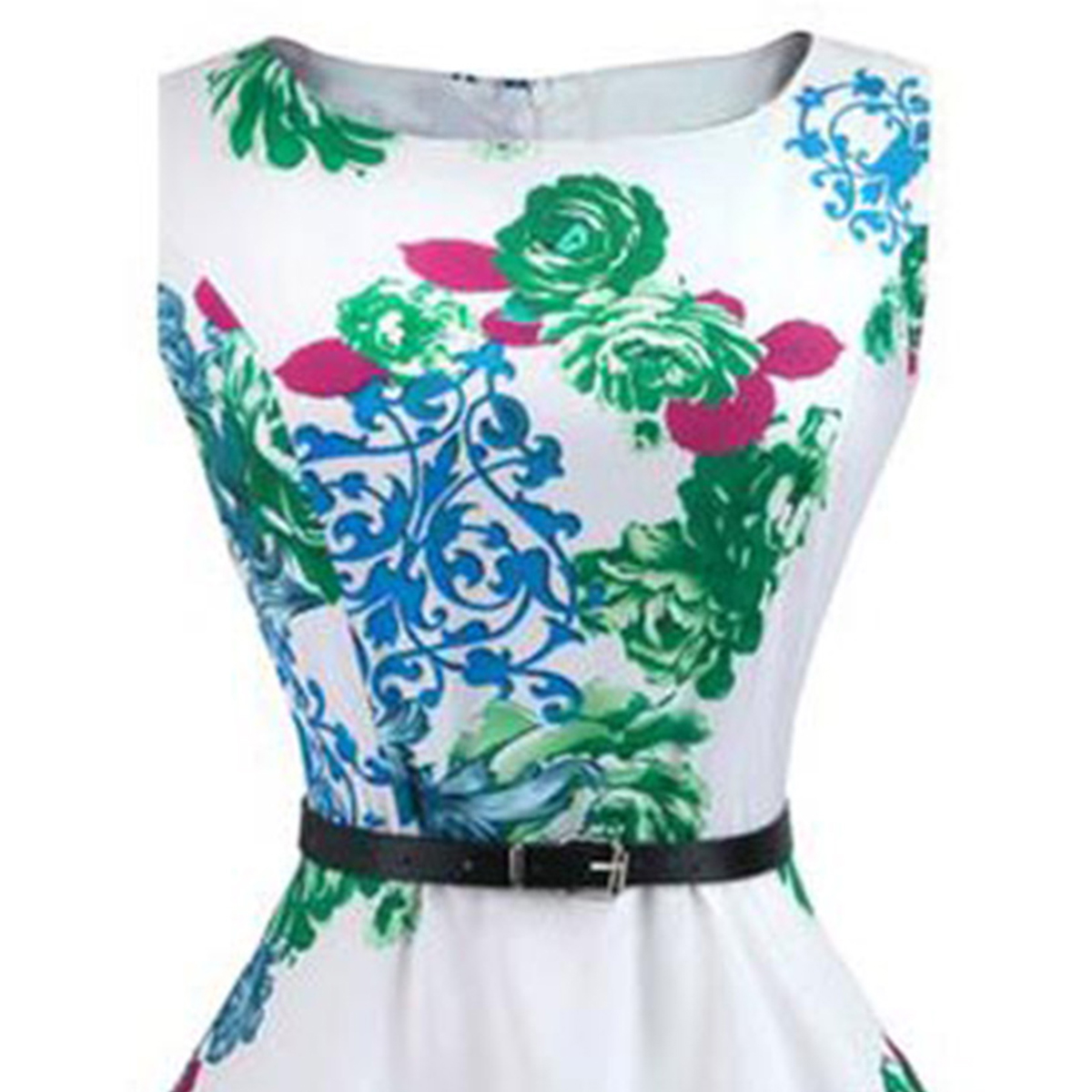 Charming White Digital Printed Partywear Crape Western Dress