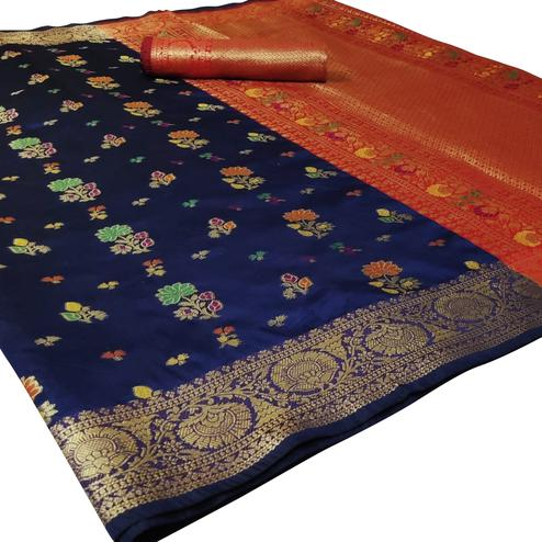 Classy Navy Blue Colored Festive Wear Woven Silk Saree
