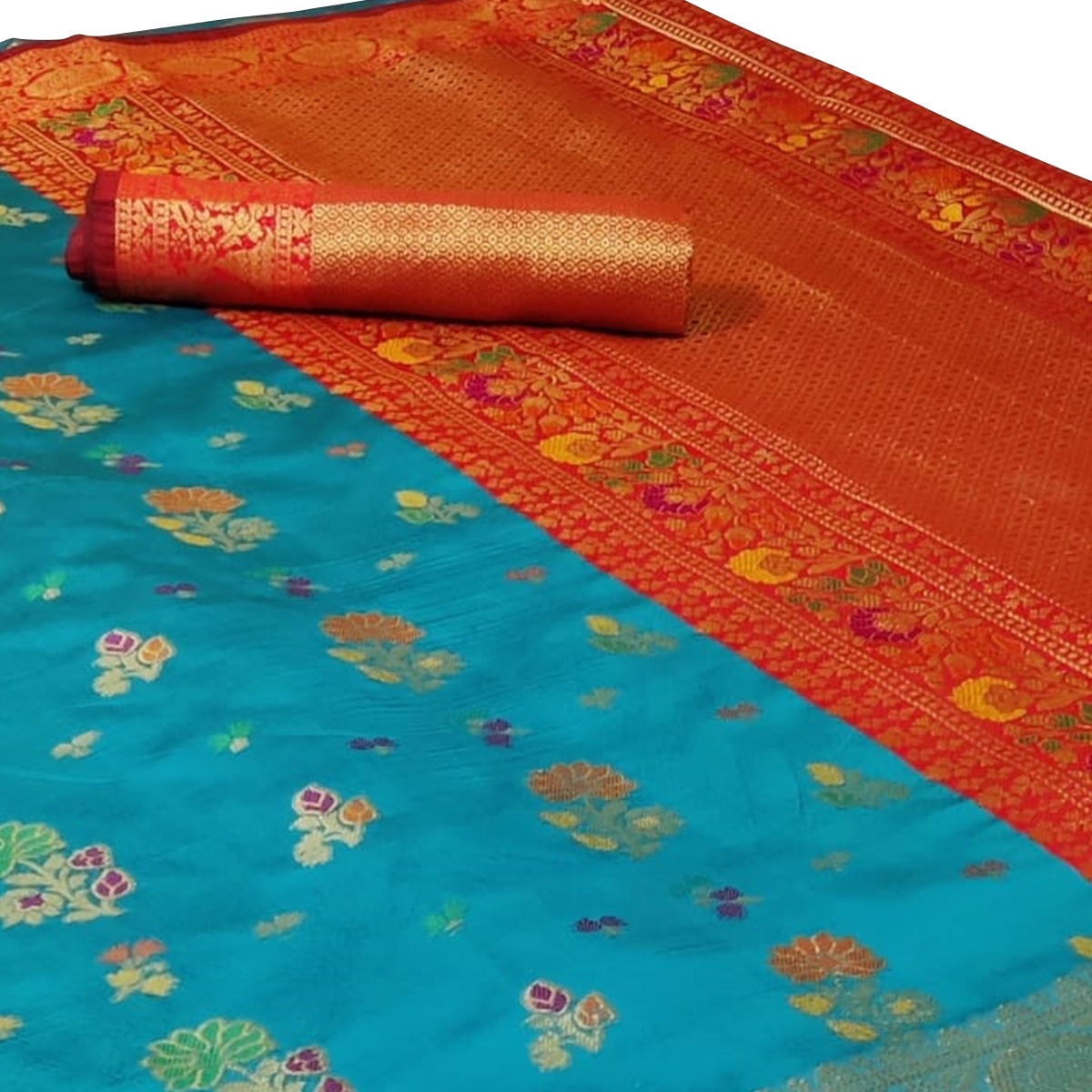 Prominent Sky Blue Colored Festive Wear Woven Silk Saree