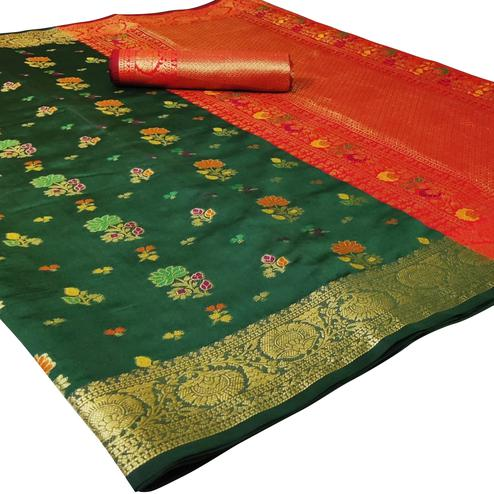 Appealing Green Colored Festive Wear Woven Silk Saree