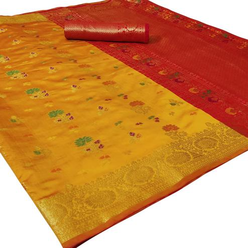 Capricious Yellow Colored Festive Wear Woven Silk Saree