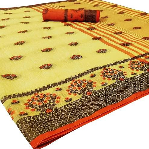 Exclusive Yellow Colored Festive Wear Woven Heavy Linen Saree