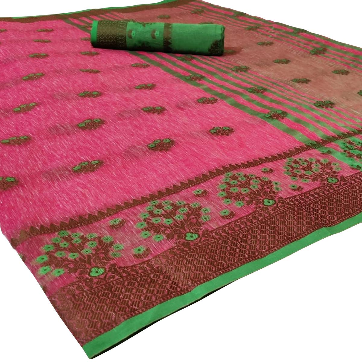Glorious Pink Colored Festive Wear Woven Heavy Linen Saree
