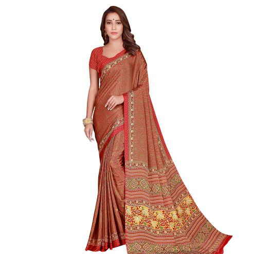 Prominent Maroon Colored Casual Wear Printed Silk Crepe Saree