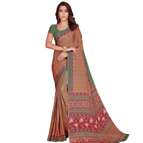 Appealing Peach Colored Casual Wear Printed Silk Crepe Saree