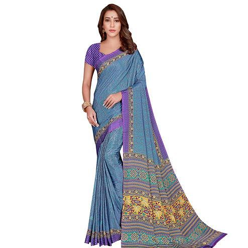 Capricious Blue Colored Casual Wear Printed Silk Crepe Saree