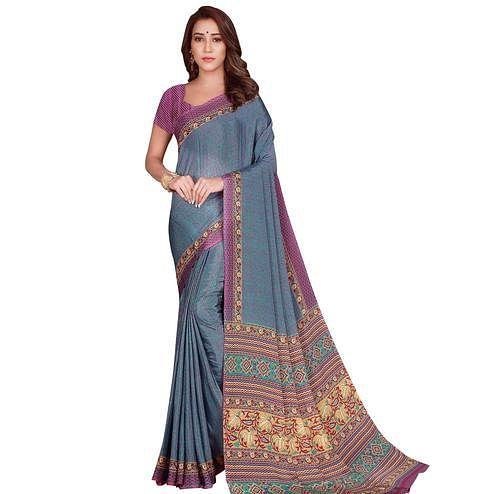 Groovy Blue Colored Casual Wear Printed Silk Crepe Saree