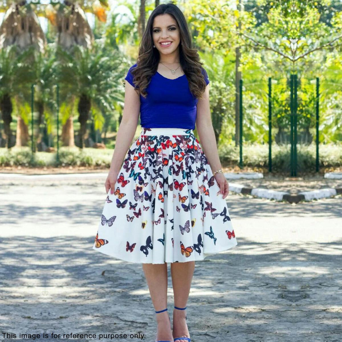 Adorable Blue-White Digital Printed Partywear Rayon And Crape Western Dress