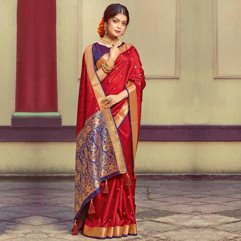 Unique Red Colored Festive Wear Woven Handloom Silk Saree With Tassels