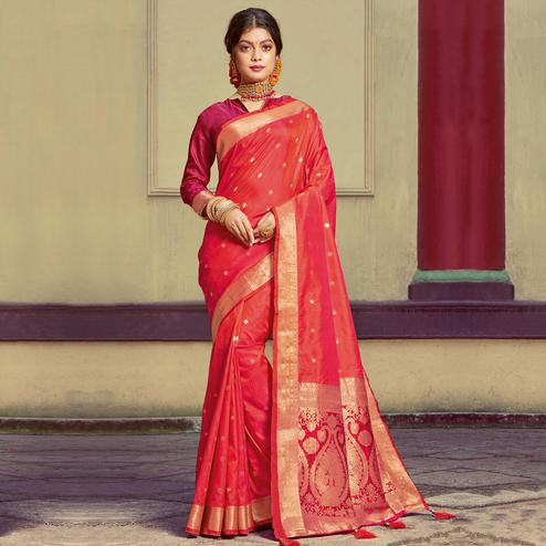 Flattering Red Colored Festive Wear Woven Handloom Silk Saree With Tassels