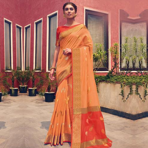 Amazing Orange Colored Festive Wear Woven Cotton Handloom Saree