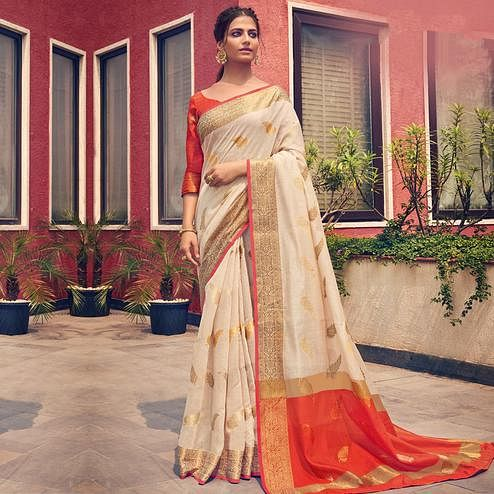 Gorgeous Cream Colored Festive Wear Woven Cotton Handloom Saree