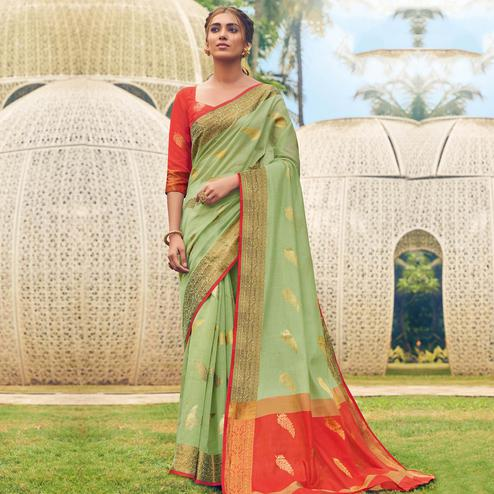 Blissful Green Colored Festive Wear Woven Cotton Handloom Saree
