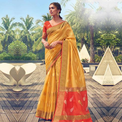 Ideal Yellow Colored Festive Wear Woven Cotton Handloom Saree
