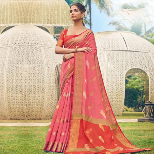 Imposing Pink Colored Festive Wear Woven Cotton Handloom Saree