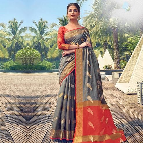 Lovely Grey Colored Festive Wear Woven Cotton Handloom Saree
