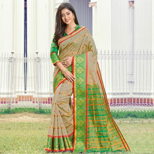 Exceptional Beige Colored Festive Wear Woven Handloom Silk Saree