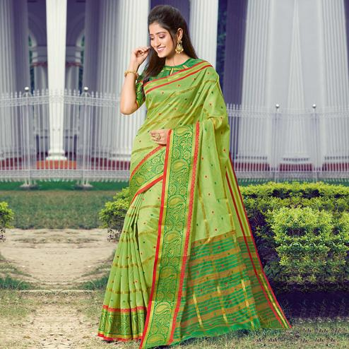 Ethnic Green Colored Festive Wear Woven Handloom Silk Saree