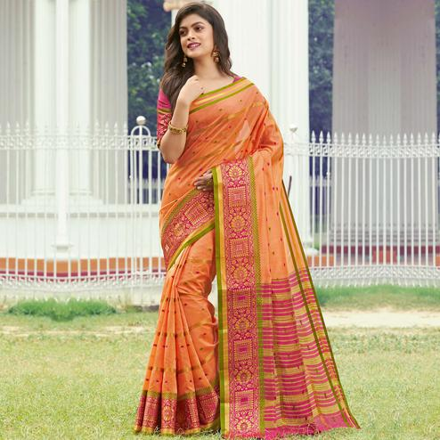 Ravishing Orange Colored Festive Wear Woven Handloom Silk Saree