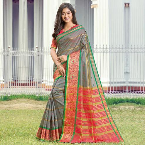 Staring Grey Colored Festive Wear Woven Handloom Silk Saree