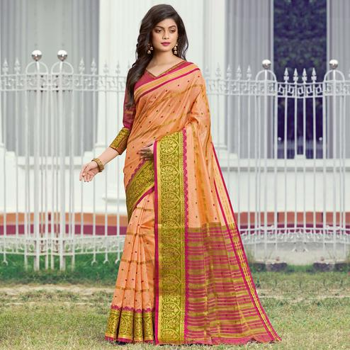 Dazzling Peach Colored Festive Wear Woven Handloom Silk Saree