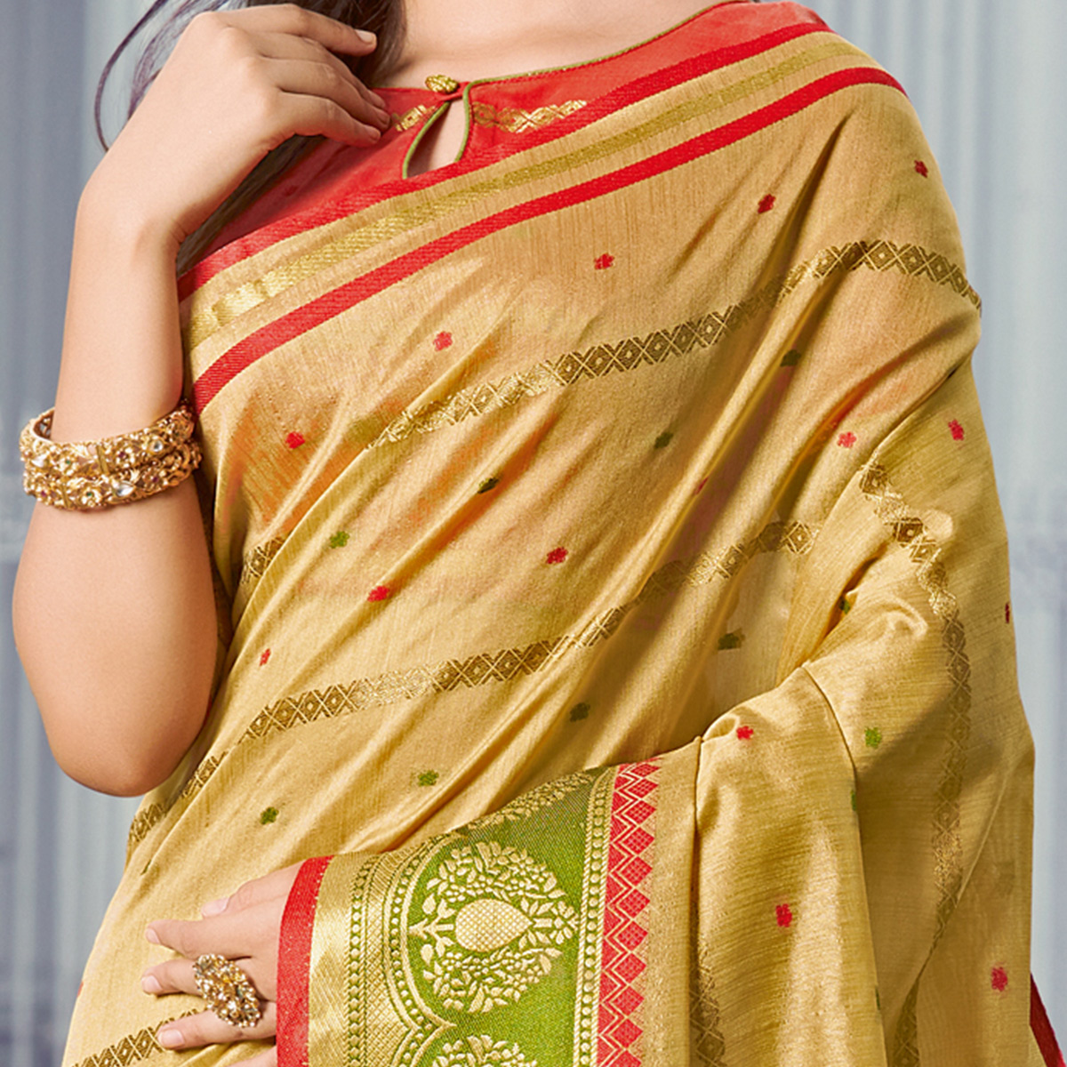 Surpassing Light Brown Colored Festive Wear Woven Handloom Silk Saree
