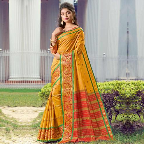 Blooming Mustard Yellow Colored Festive Wear Woven Handloom Silk Saree
