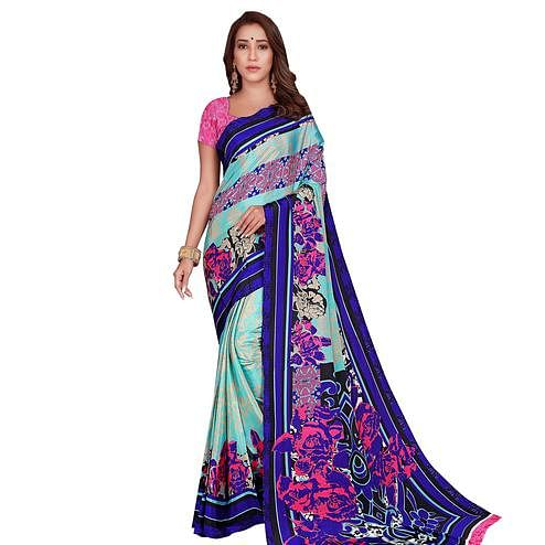 Intricate Mint Green-Blue Colored Casual Wear Printed Crepe Saree