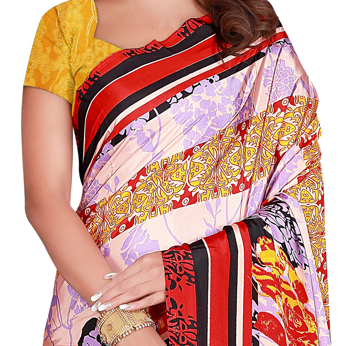Arresting Pink Colored Casual Wear Printed Crepe Saree