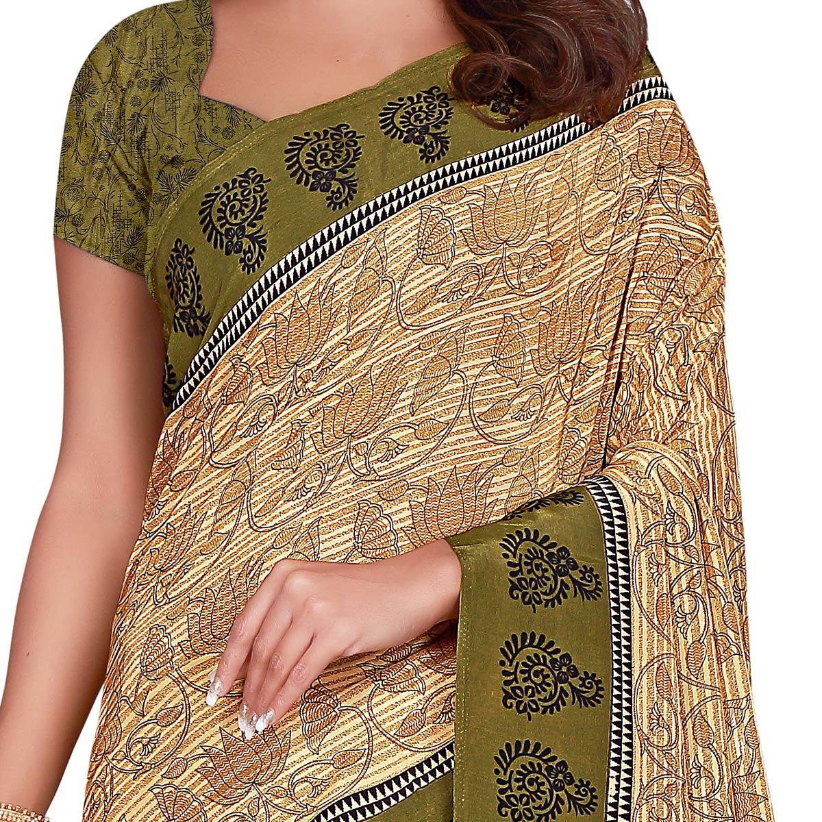 Desirable Beige Colored Casual Wear Printed Crepe Saree